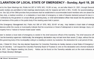 Columbia Township State of Emergency